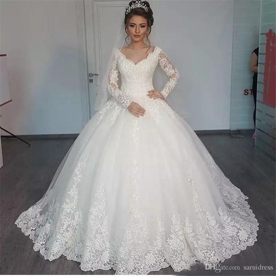 Großhandel Schulterfrei Mit Langen Ärmeln Applique Bodenlangen Hochzeit  Brautkleider Nach Maß Neue Spitze Brautkleider Robe De Soiree Longue Von