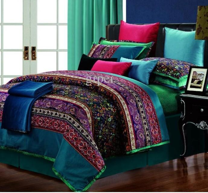Luxury Egyptian Cotton Paisley Bedding Set King Queen Size