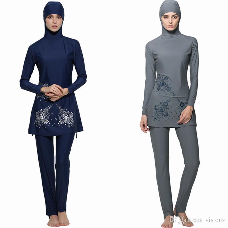 a4d4f2539e Full 2017 Cover Islamic Swimwear Women Modest Full Cover Arab Beach Wear  Hijab Swimsuit Swimwear Burkinis for Muslim Girls Women Burkini