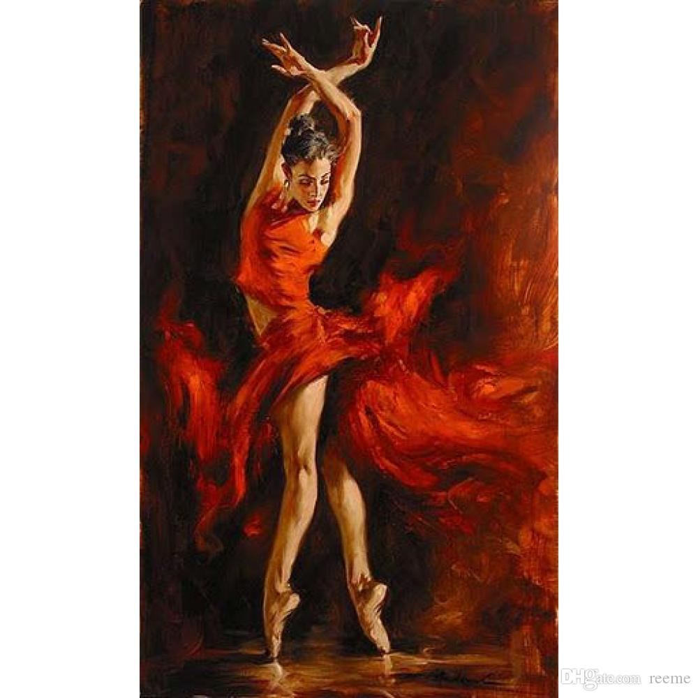 Modern art Flamenco Spanish Dancer Red Lady oil paintings on canvas for home decoration hand-painted