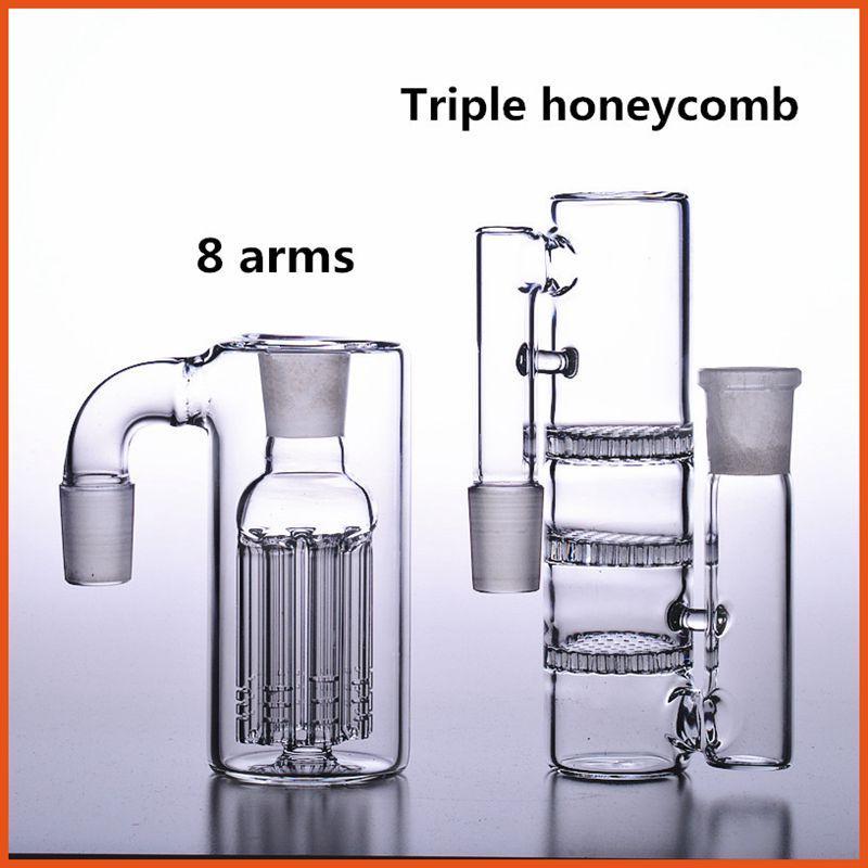Bong cendrier 18mm mâles femelles cendriers plates-formes pétrolières dab verre d'eau tuyaux fumeurs accessoires adaptateur triple nid d'abeilles perc 18.8mm