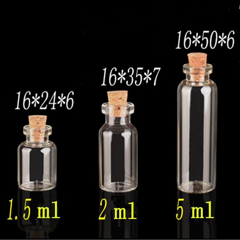 Mini Clear Glass Bottles With Cork Small Vials Jars Containers Cute Crafts Bottles Jars Wishing Bottle 100pcs Free Shipping
