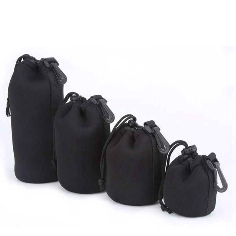 ITSYH Soft Black DSLR Camera Lens Protector Drawstring Pouch Bag Case Waterproof Cover 4 Sizes XL L M S TW-369
