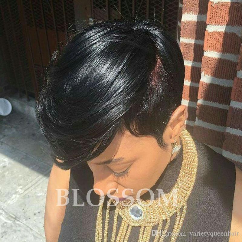 Las mejores pelucas de pelo corto y de corte humano de encaje completo con flequillo peluca brasileña sin cola del cordón del pelo corto humano sin cola para mujeres negras