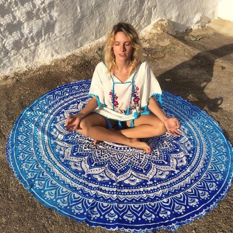160 سنتيمتر كبيرة مستديرة منشفة الشاطئ الأزرق لوتس زهرة السباحة حمام منشفة الأزرق الفاوانيا المنديل الهندي ماندالا نسيج الجدار شنقا رمي منشفة
