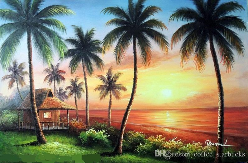 Framed Hawaii Sunset Beach House Shore Pacific Palm Trees,Pure Hand-painted Seascape Art Oil painting Canvas,Multi sizes,Free Shipping J023