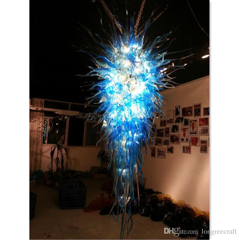 Grande Turquiose lusso blu a mano soffiato vetro borosilicato Murano Art lampadario a sospensione lampade creativo stile italiano