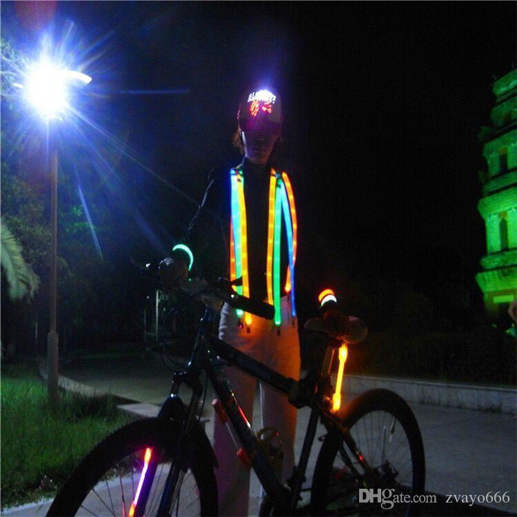 Bretelle luminose LED da uomo UNISEX LED Glow flash Suspender Protezioni esterne per la sicurezza sportiva