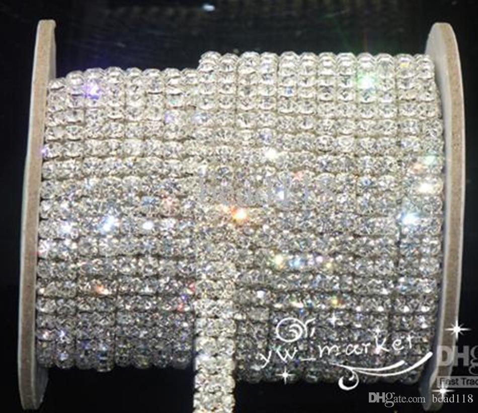 Bröllopsmycken 2-rad SS16 Clear Crystal Rhinestone Trims Stäng kedja Silver 10 gård