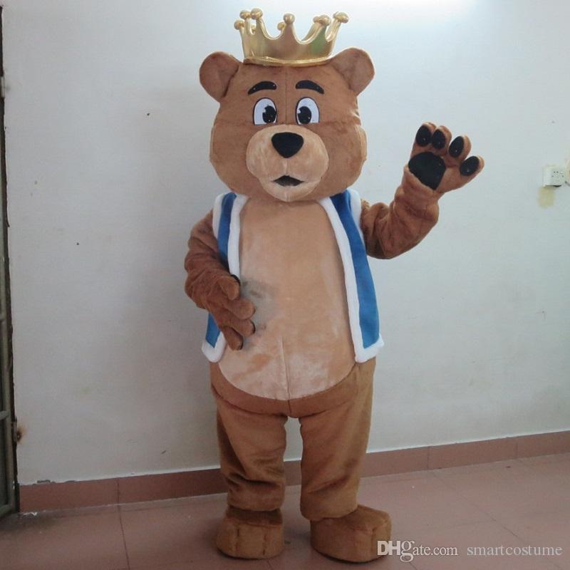 SX0725 100% real photo of big belly bear mascot costume with crown for adult to wear