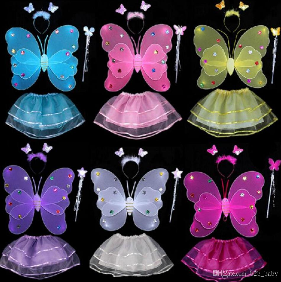 Kids Fairy Princess Costume Sets Colorido Escenario Desgaste 2 Capas Alas de Mariposa Wand Diadema Tutu Faldas 4 unids / set OOA3577