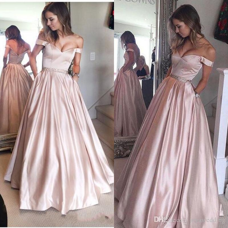 Pearl Pink Puffy Off-the-Shoulder Prom Party Gowns for Juniors 2019 with Pockets Beading Floor Length Prom Dress Evening Wear