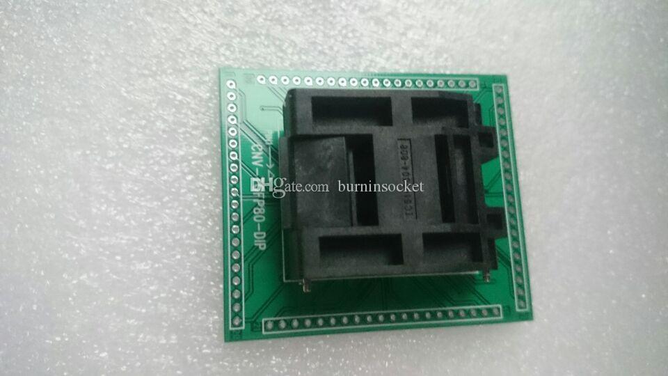 QFP80 TO DIP80PIN presa bruciante presa YAMAICHI IC51-0804-808-14 con scheda pcb passo 0,5mm