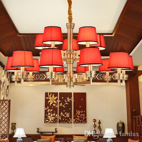Nowy chiński styl high-end miedzi czerwony żyrandol lampy lampiony klasyczne kreatywne dekoracyjne żyrandole LED oświetlenie LED Lampy wiszące