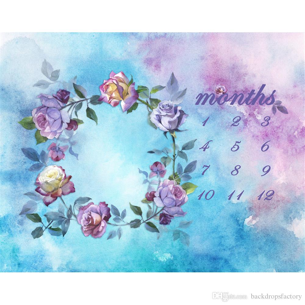 Blauer und purpurroter Aquarell-Kalender-Fotografie-Hintergrund für neugeborenen Digital gemalten Blumen-Babyparty-Fotoaufnahme-Hintergrund