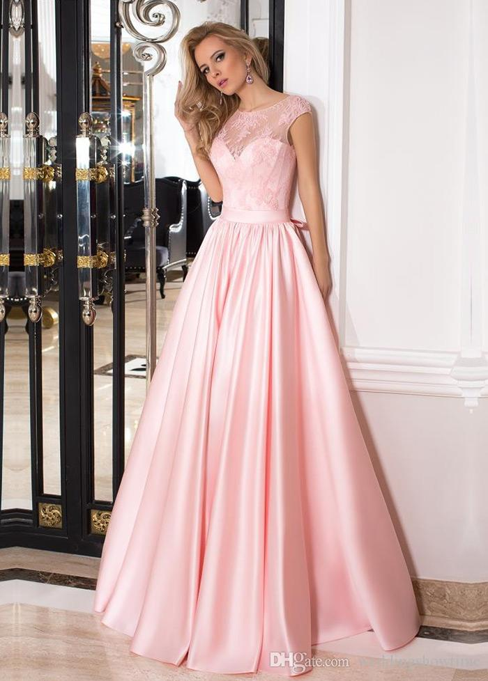 Elegant 2017 A Line Pink Lace Prom Dresses With Cap Sleeves Jewel ...