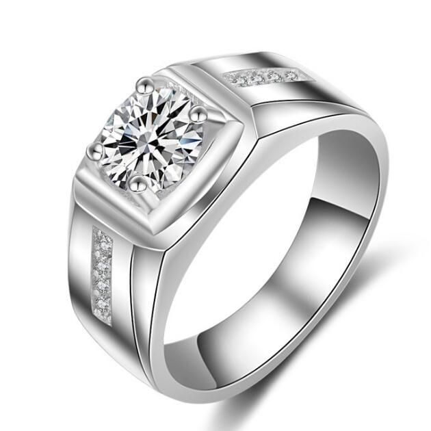 2019 جديد فيكتوريا ويك سوليتير الرجال الدائري 1ct توباز مقلد الماس 925 فضة الاشتباك خاتم الزواج
