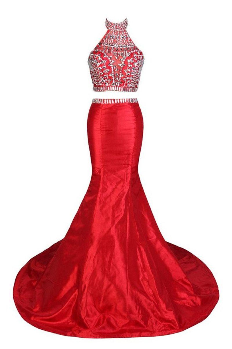 Two Piece Prom Dresses 2017 Vestidos Do Baile De Finalistas Sexy Halter Backless Red Mermaid Evening Dress