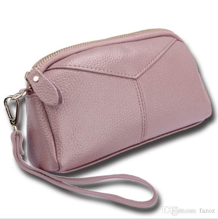 Ladies Genuine Leather Clutch Wristlet Purse Small Handbag Wallet Coin Pouch Credit Card Mobile Phone Bag Mini Daily Pack For Women