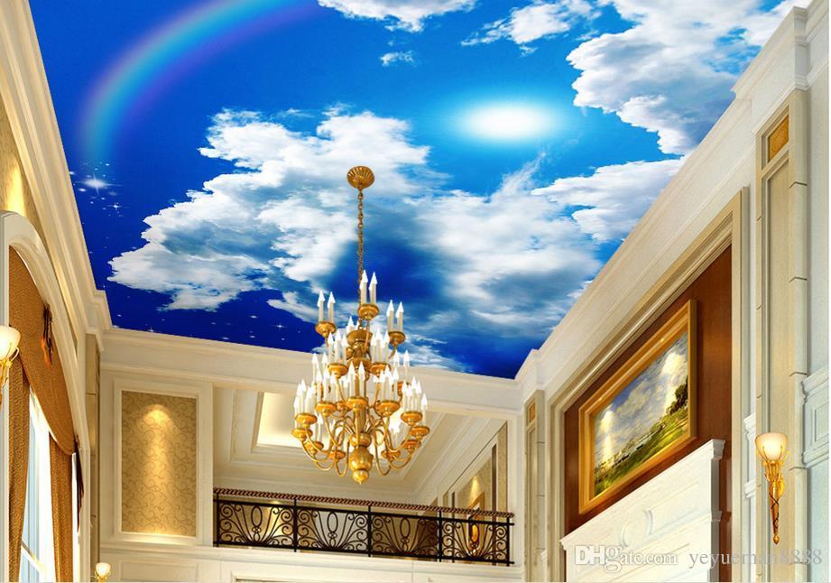 3d ceiling custom 3d Blue sky white clouds sun rainbow stars sky wallpaper for ceilings 3d wallpaper living room wallpaper ceiling modern