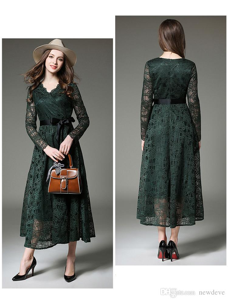 Dark Green Mother Of The Bride Dresses Full Lace Wedding Guest Dress With  Long Sleeves Plus Size Tea Length Formal Mothers Gowns Mother Of The Bride