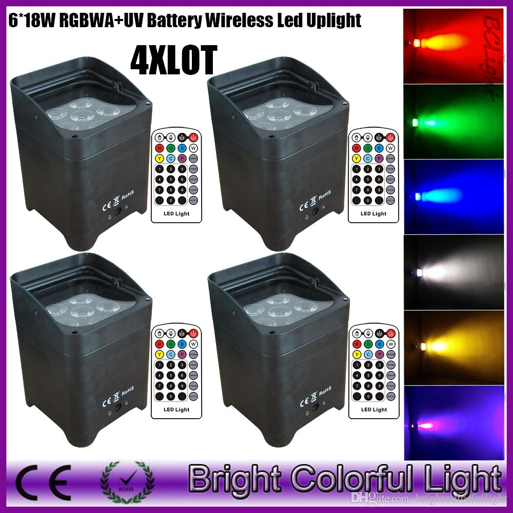 4xLOT Hot sale 2016 the newest mini RGBWAP 6 IN1 led battery operated wireless dmx led par lights Event Decoration led upliigths