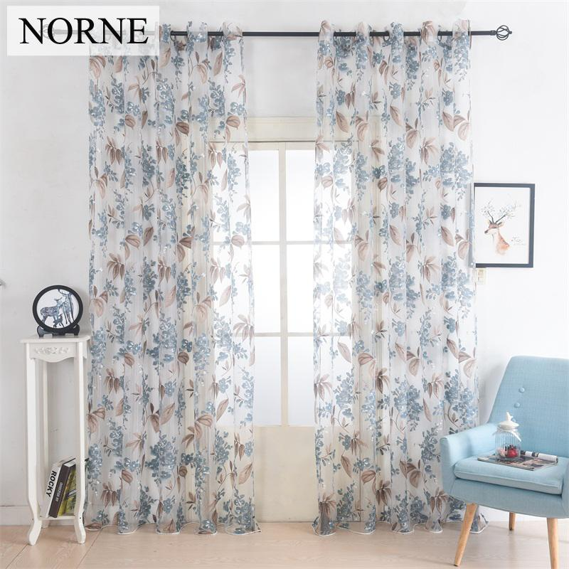 Norne Flowers Drapes Window Sheer Curtains For Living Room The Bedroom  Kitchen Modern Tulle Curtains Window Curtain Treatment Blinds Fabric For ...