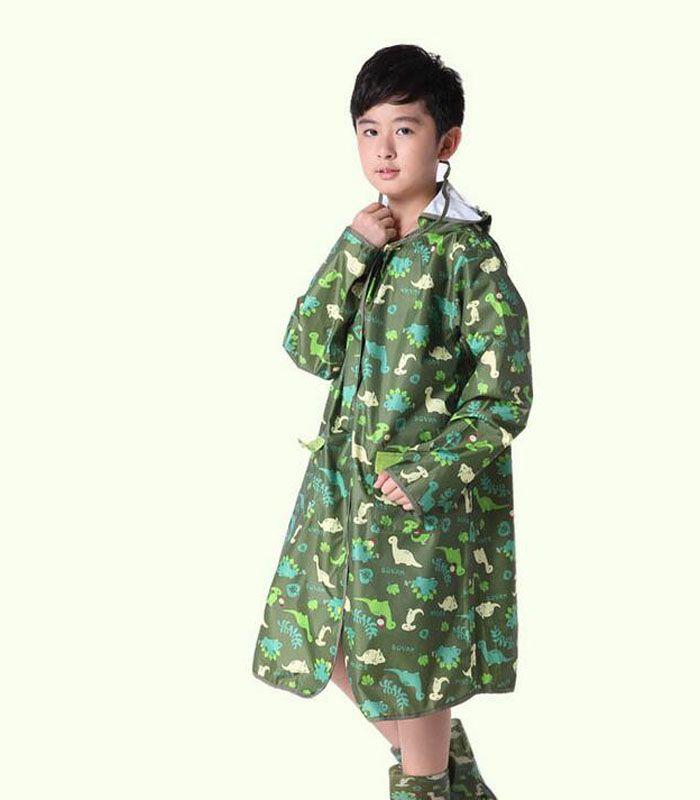 a42e6dd7b095 Kids Cute Cartoon Print Schoolbag Rainsuit Boys Girls Hooded ...
