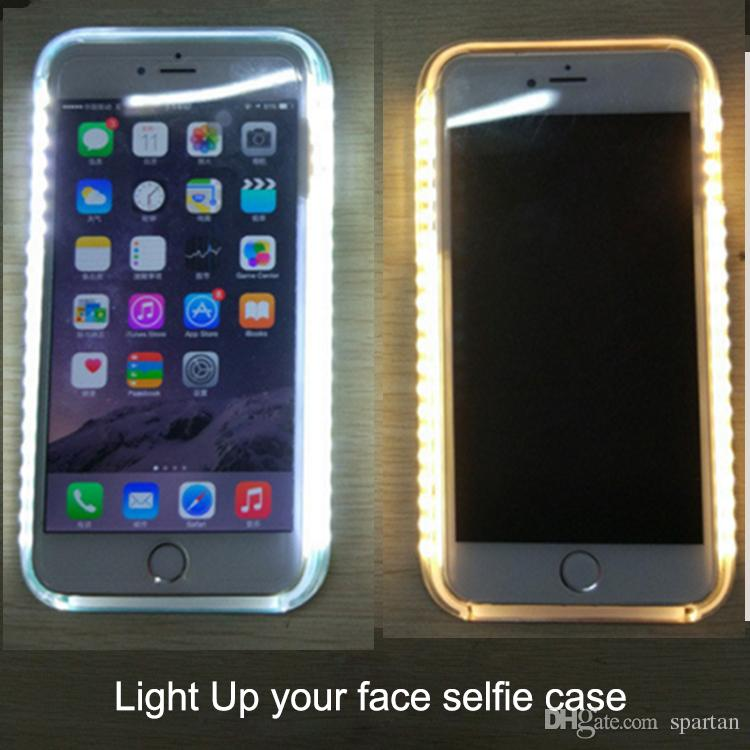pretty nice 30f07 19e96 Light Up Cases Selfie Case Battery Self Case Luminous Case For Iphone X 8 7  6s 7plus Galaxy S6 S7 Edge With Retail Package Leather Cell Phone Cases ...