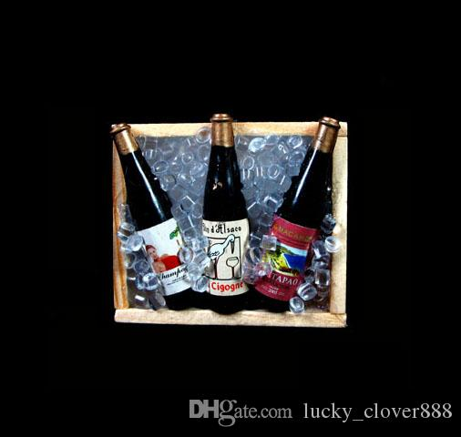 Collectible 1/6 Scale Dolls House Dollhouse Miniature iced 3 Champagne Wine Beer Bottles on Crate wooden box Fridge Magnet
