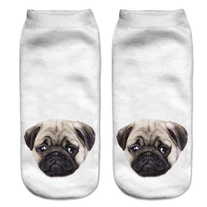 Al por mayor-Precioso 3D Pugs perros calcetines impresos Mujeres Nuevo Unisex lindo corte bajo calcetines de tobillo Calcetín de algodón Casual mujer Calcetines Charactor