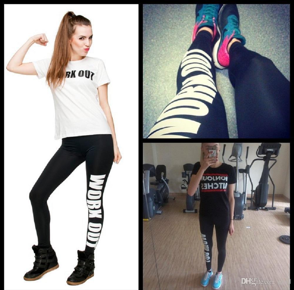 Sport Fans Geschlecht Farbe Leggings WORK OUT Letter Print Leggins Elastic Gym Pants Free Size Slim Fit Hose LWDK21-03 WR