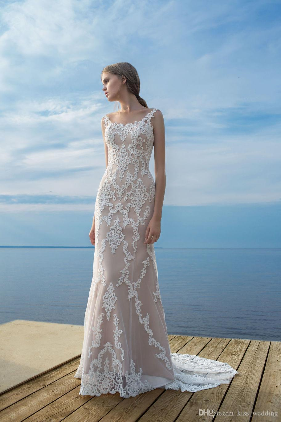 Hot Sales Sheath Mermaid Wedding Dress Long Column Beach Bridal Gown ...