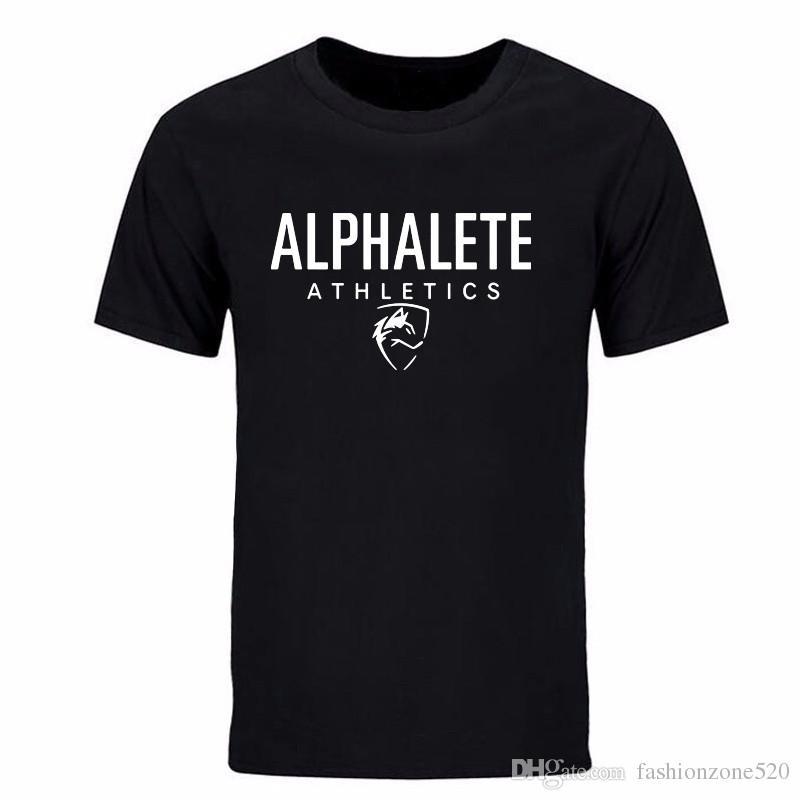 2017 Primavera verão Shark Alphalete Impressão T-shirt dos homens sportwear algodão casual moda o-pescoço camiseta mens plus size DIY-0143D