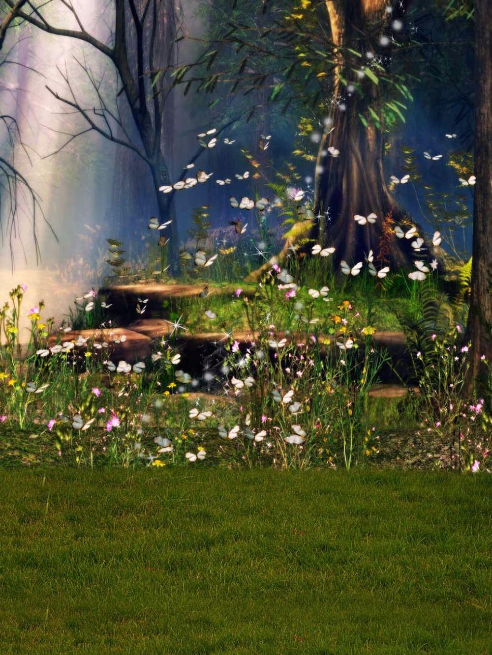 봄 경치 좋은 숲 사진 배경 나비 노란색 꽃 나무 녹색 초원 야외 판타지 동화 사진 배경