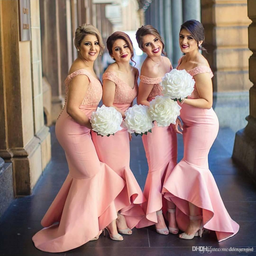2019 New Arabic Bridesmaids Dresses Sweetheart Off Shoulders Backless Lace Bodice High Low Dubai Ruffle Skirt Maid of the Honor Dresses