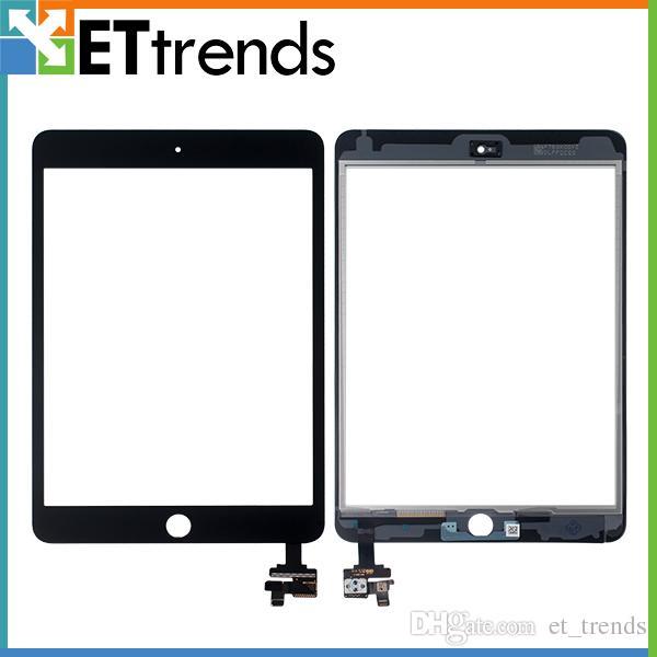 Toque Digitador De Vidro Assembléia para iPad mini 3 Tela Digitador Com IC Ahensive Adesivo DHL Frete Grátis