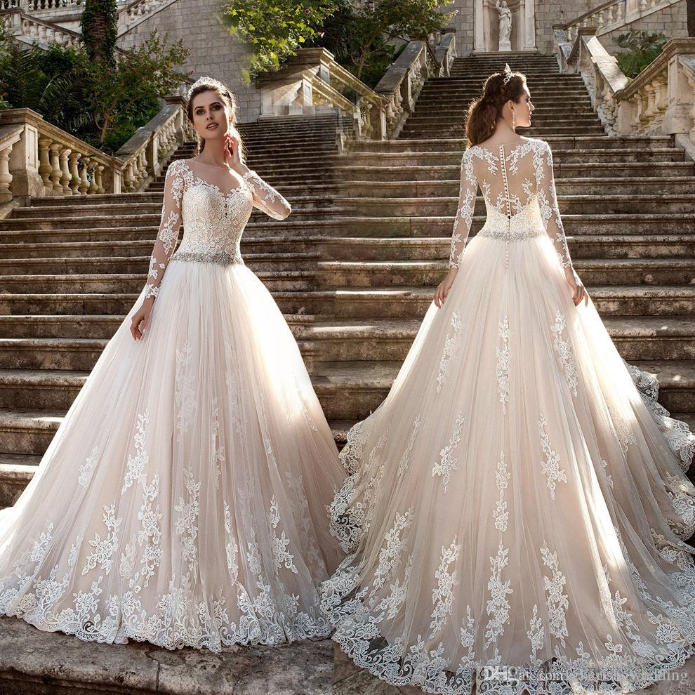 Luxury Champagne Plus Size Wedding Dresses Vintage Lace Ball Gown Applique  Long Sleeves With Beads Sash Tulle Bridal Gowns Vestidos De Novia Ballgown  ...