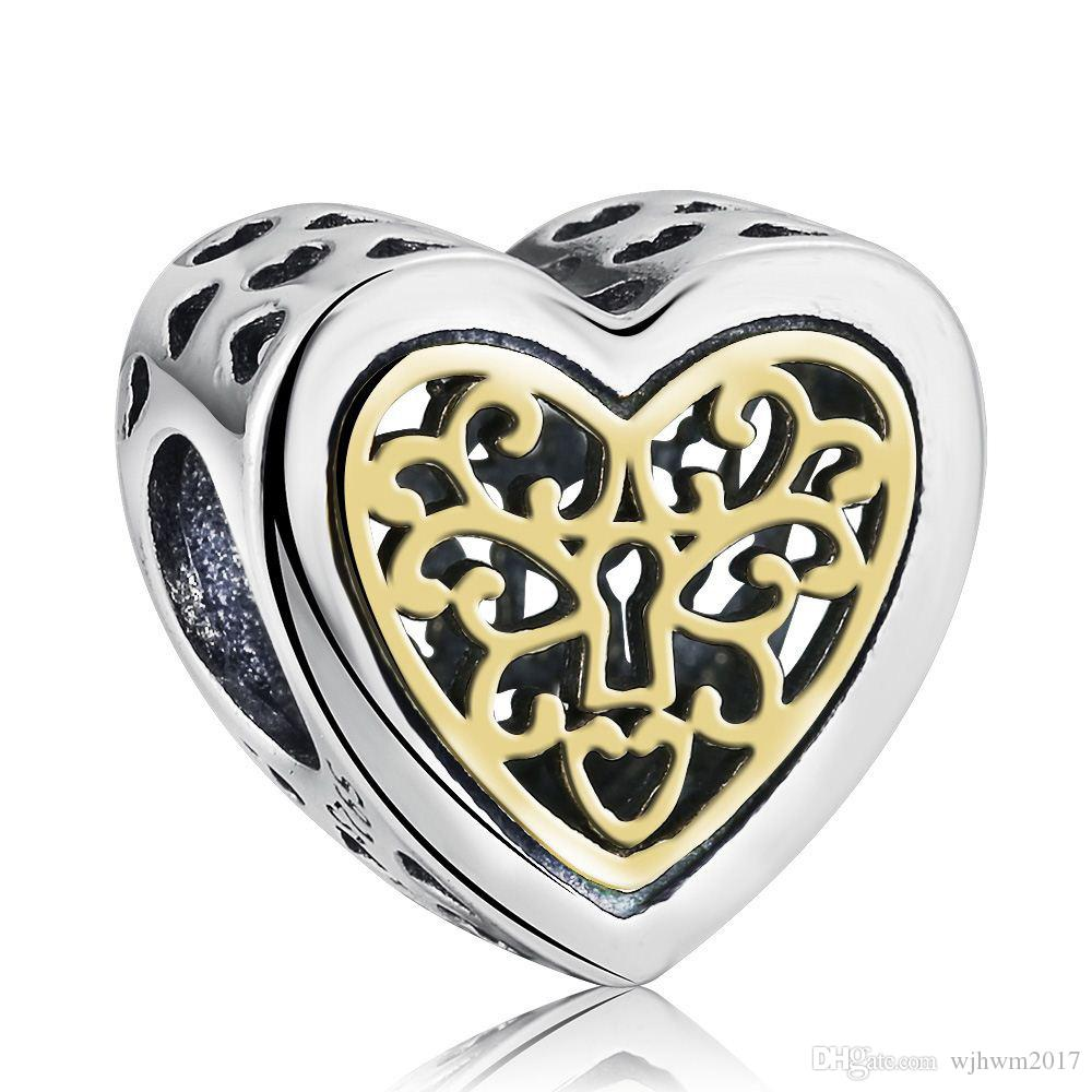 Gold Plated Locked Heart Charms Bead Authentic 925 Sterling-Silver-Jewelry Love Heart Beads For DIY Brand Bracelets Making Accessories