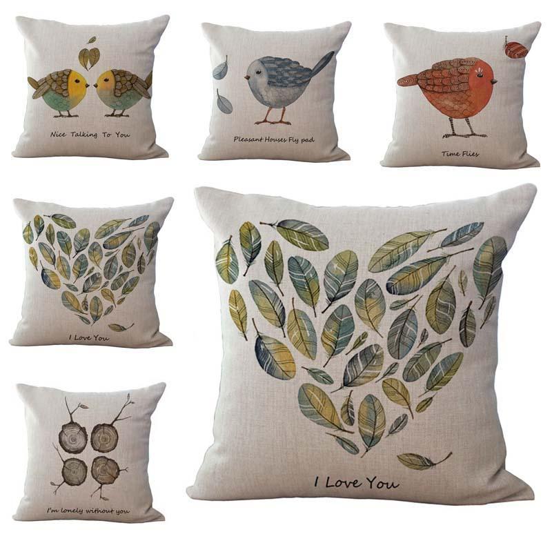 Love Lover Birds Throw Pillow Cases Cushion Cover Pillowcase Linen Cotton Square Pillow Case Pillowslip valentine Gift 240490