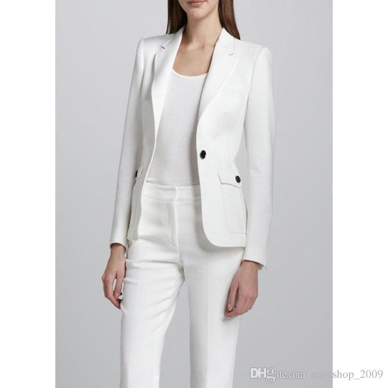 Compre Traje De Pantalón Blanco Para Mujer Elegante Traje De Pantalón Para  Mujer Oficina De Negocios Traje De Uniforme 2 Piezas Abrigo + Pantalones