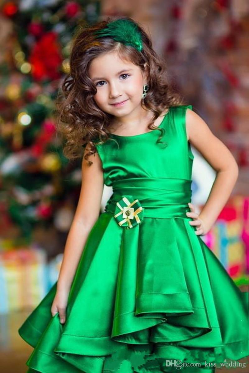 Lovely High Low Toddler Pageant Dresses Kids Formal Wear Green Satin