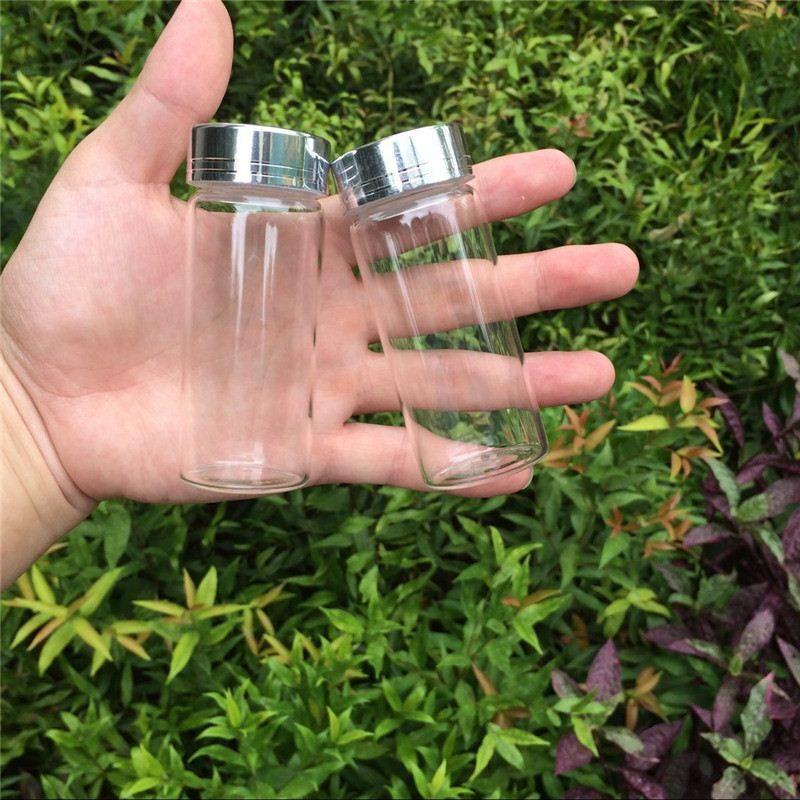 65ml Glass Storage Bottles Jars with Silver Aluminum Screw Cap Wedding Gift Bottles Jars Container
