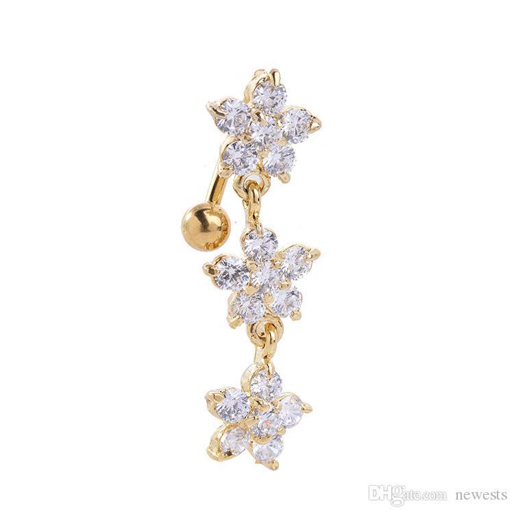 حار بيع الزركون البرقوق الذهب بطن حلقة البطن هيئة ثقب المجوهرات