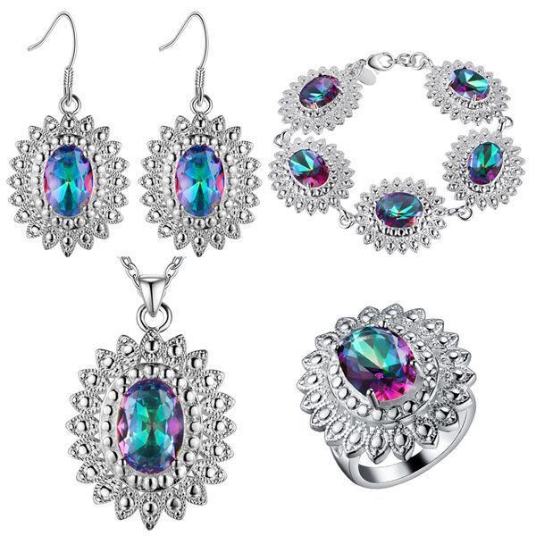 Orecchini pendenti in argento sterling 925 Bracciale con anello in argento massiccio. Gioielli in argento massiccio di crisantemo