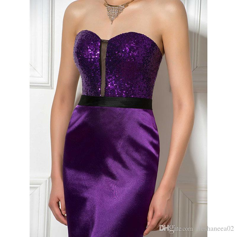 Sexy Short Purple Sheath Cocktail Dresses Sweetheart Sequined Sash ...