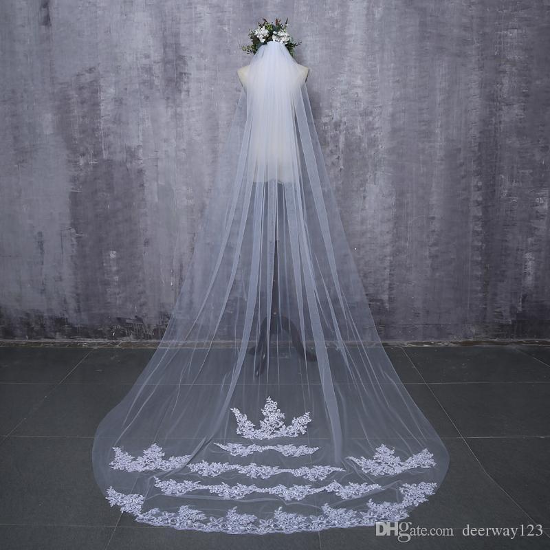2019 Véus de Noiva Branco Applique Tule 3 metros veu de noiva longo véus de noiva acessórios de noiva rendas véu de noiva
