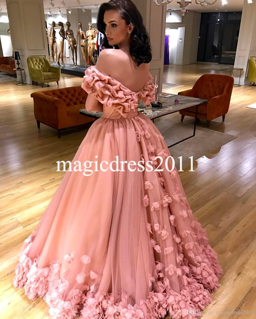 Compre Gorgeous Pink Prom Dresses Con Flores Hechas A Mano Vestido ...