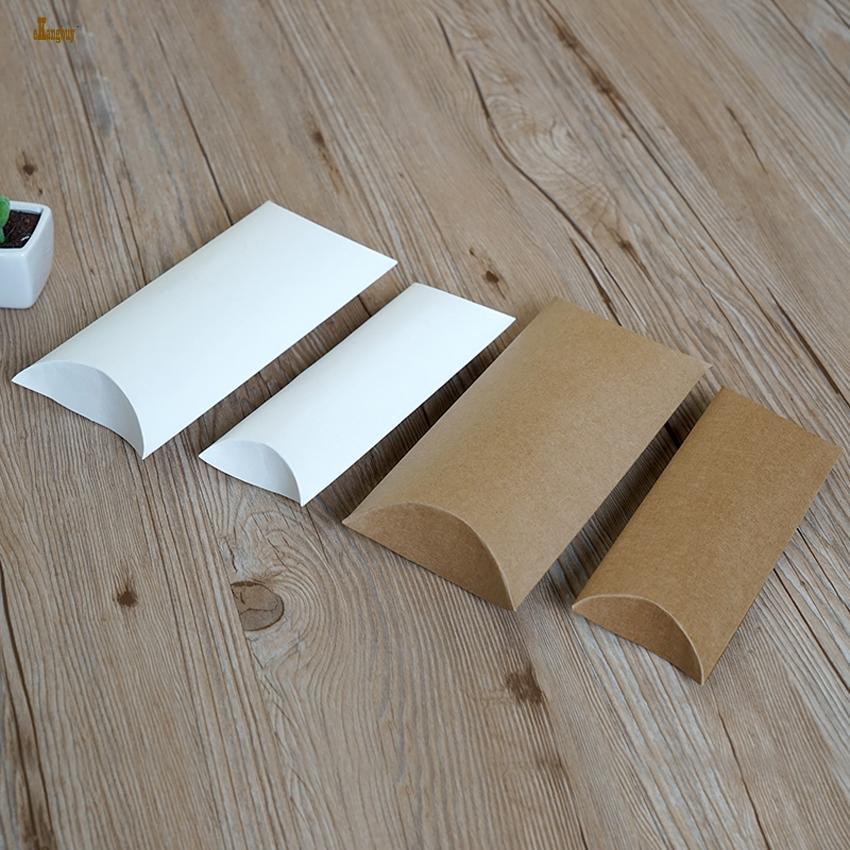 2018 New Tubetes 50pcs / lot Kraft scatola di carta cuscino 18.5x7.8x3cm / 21cmx10cmx4cm contenitore di monili / regalo di imballaggio / anello / earing / collana scatole di immagazzinaggio