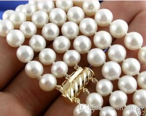 FFREE SHIPPING ** 7-8MM 3Strds blanc Akoya collier de perles de culture